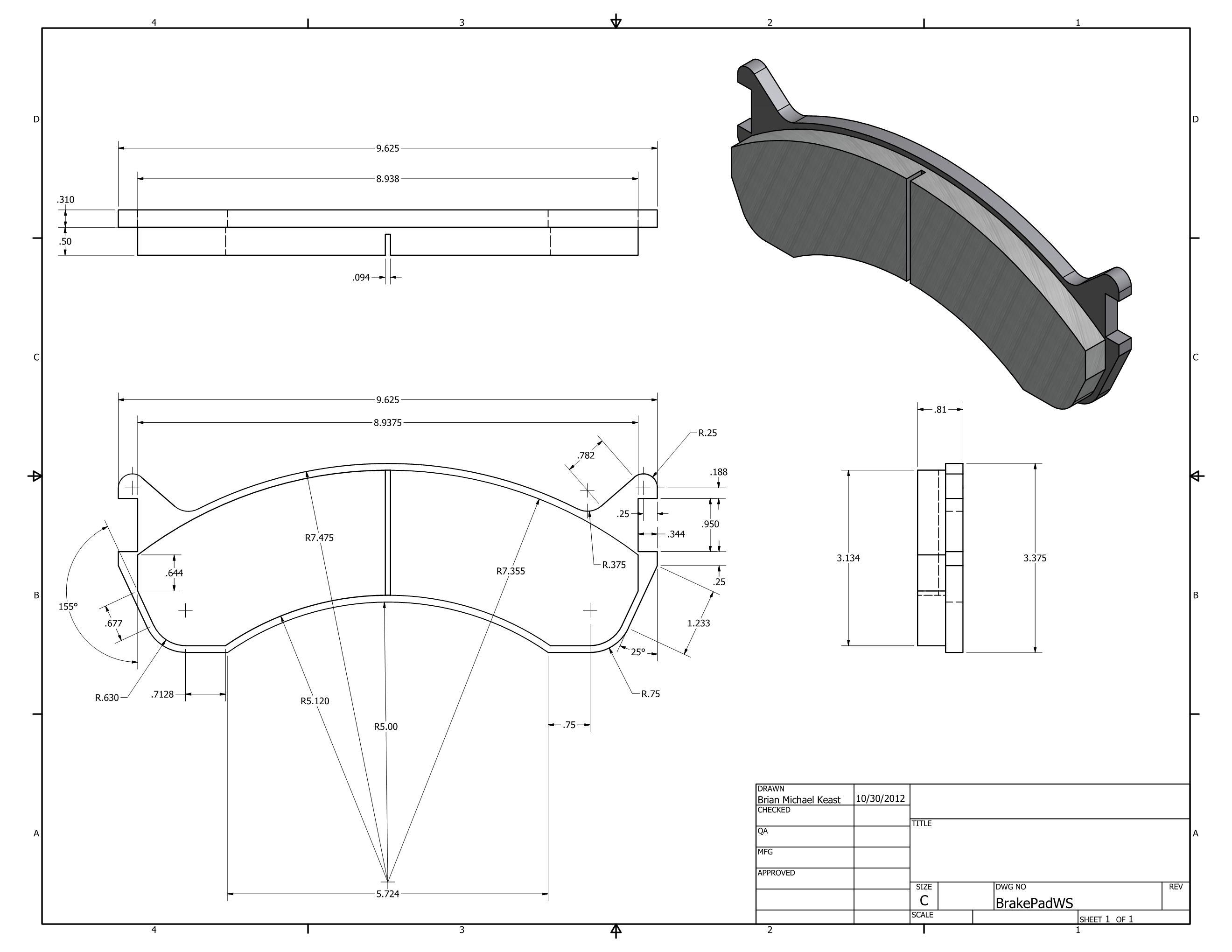 Brake Pad dimensioned drawing