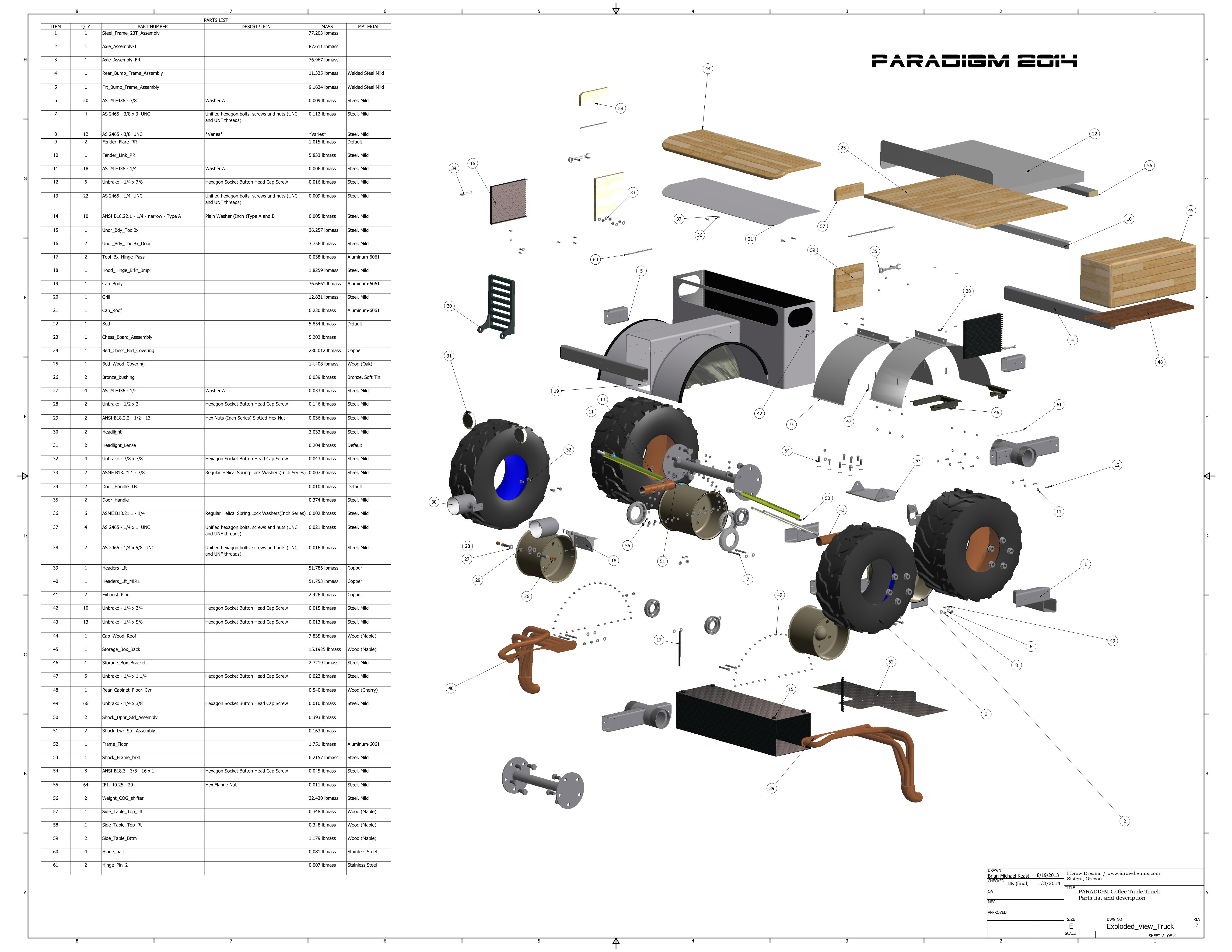 exploded view of 3D model
