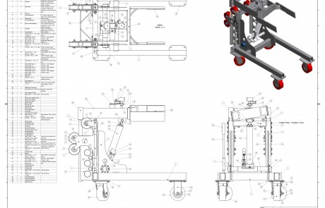 technical drawing of a differential puller for a 2.5 ton rockwell