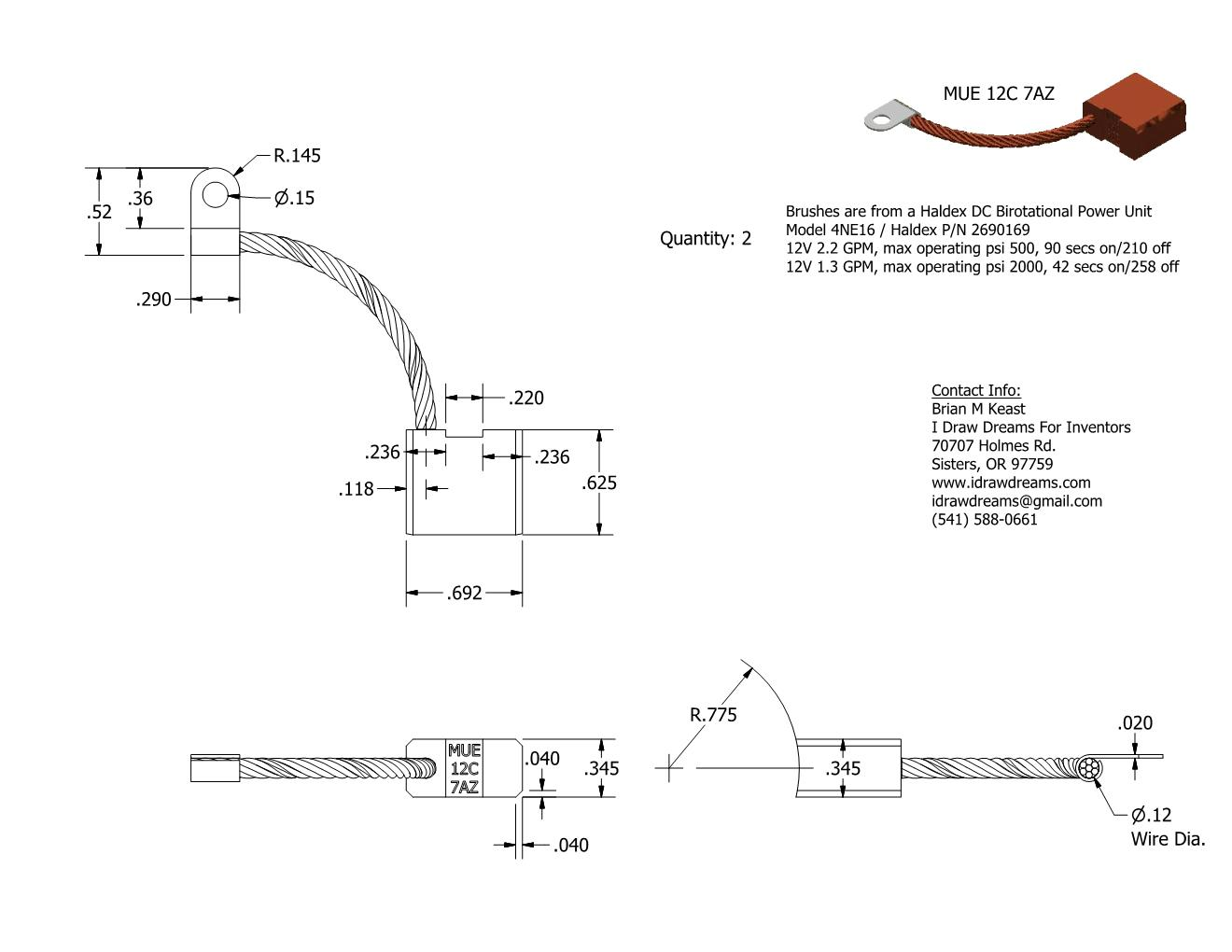 technical drawing on brushes for a hydraulic motor